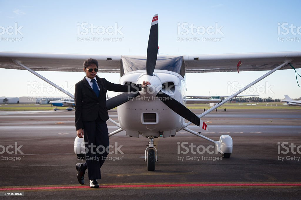 Pilot and Aircraft stock photo