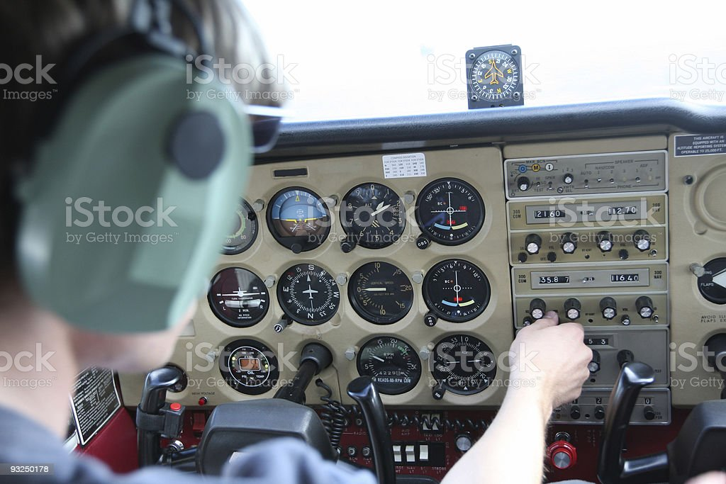 Pilot at the radios royalty-free stock photo