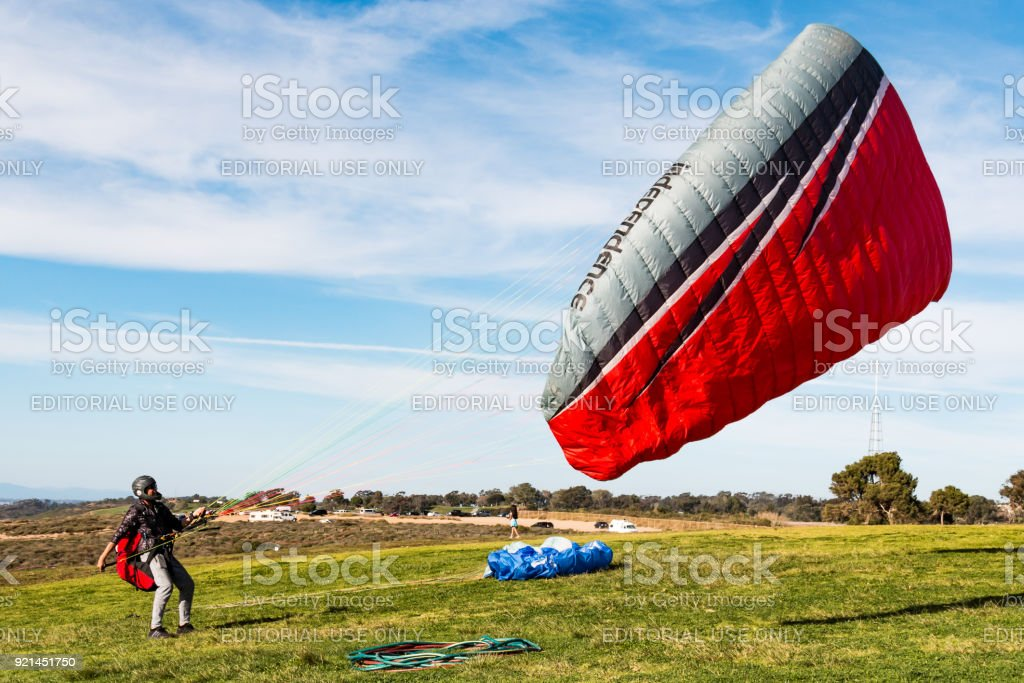 Pilot Attempts to Land-Based Launch a Paraglider at Torrey Pines Gliderport stock photo
