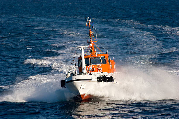 Pilot boat at full ahead stock photo
