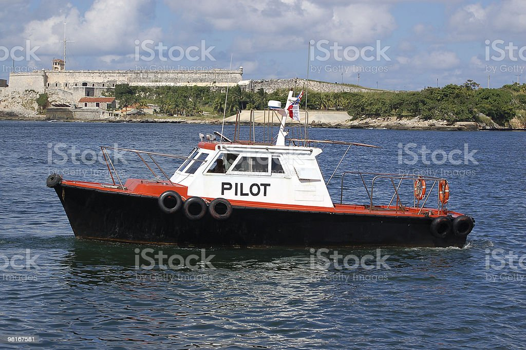 Pilot boat, Havana Harbour royalty-free stock photo