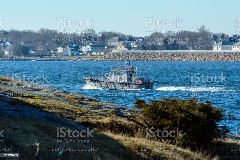 Pilot boat leaving New Bedford stock photo