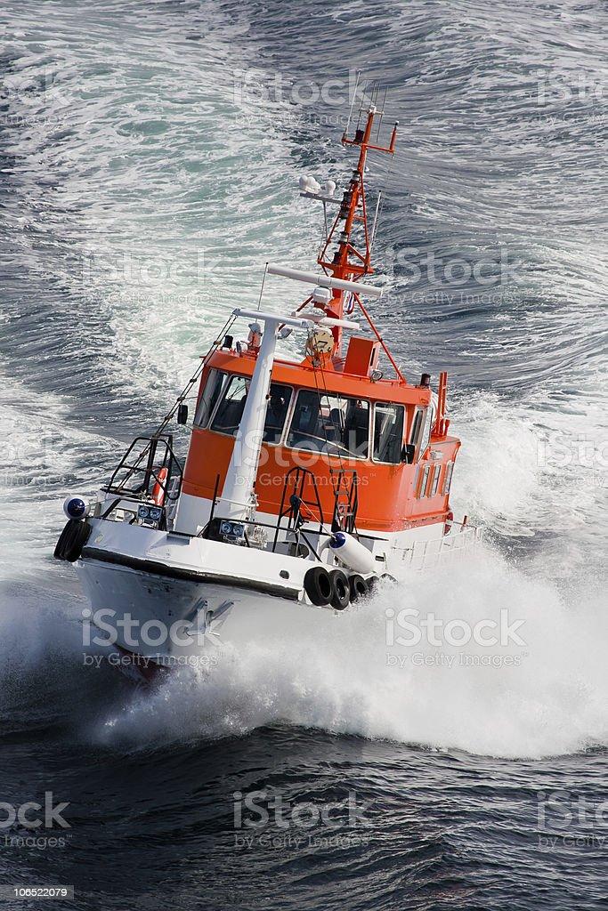 Pilot boat rushing through waves, Norway - Scandinavia royalty-free stock photo