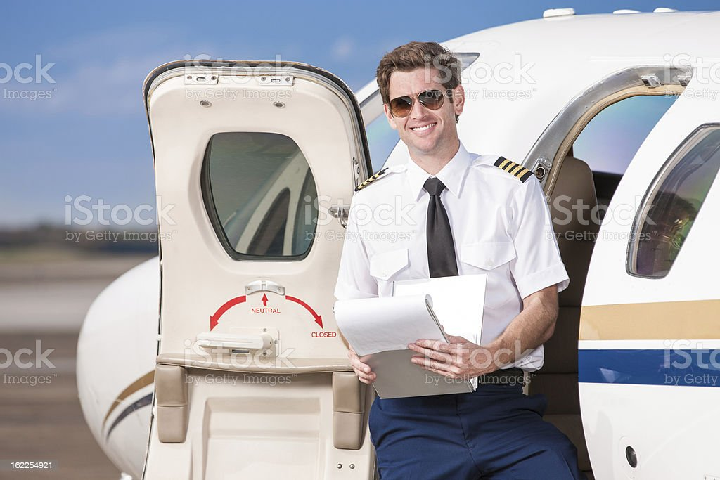 Pilot by Private Corporate Jet stock photo