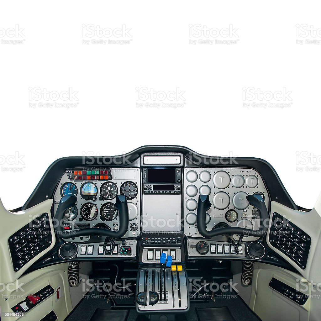 Pilot cabine of plane inside isolated stock photo