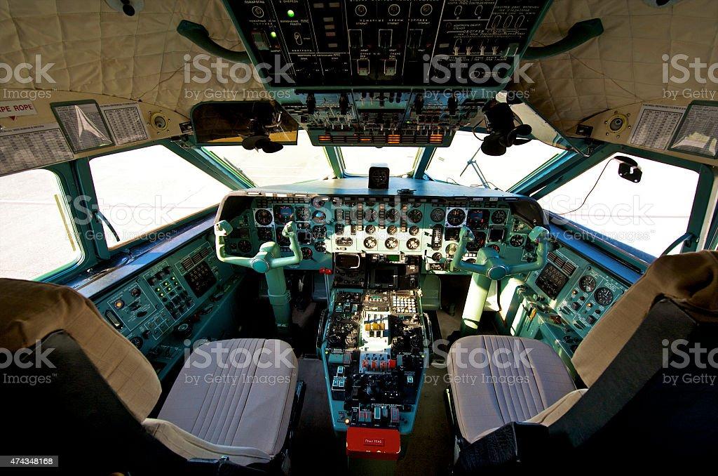 pilot cockpit stock photo