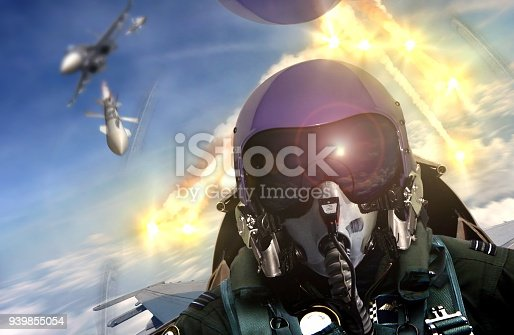 istock Pilot cockpit view during air to air combat 939855054