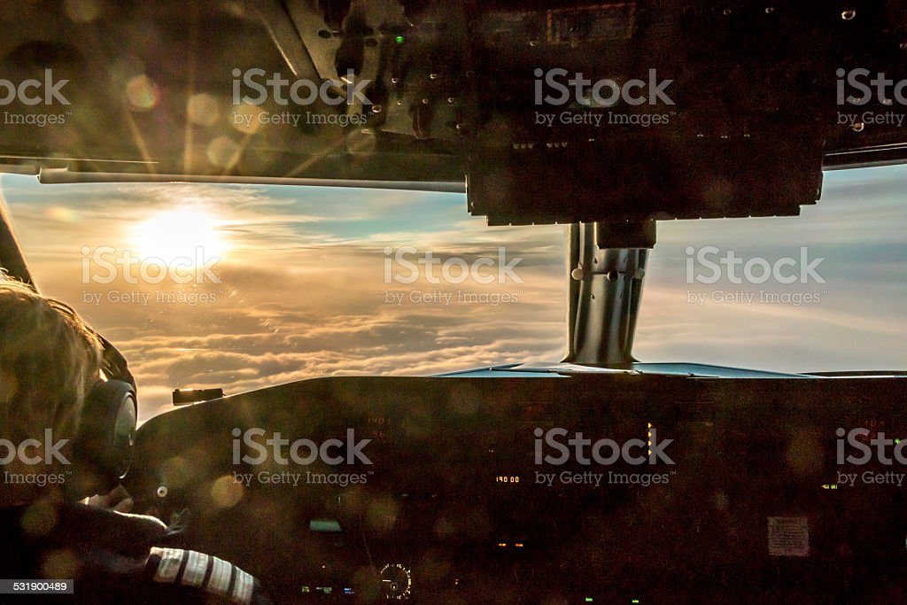 Pilot enjoying view stock photo