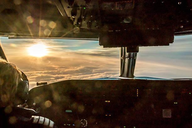 Pilot enjoying view stock photo