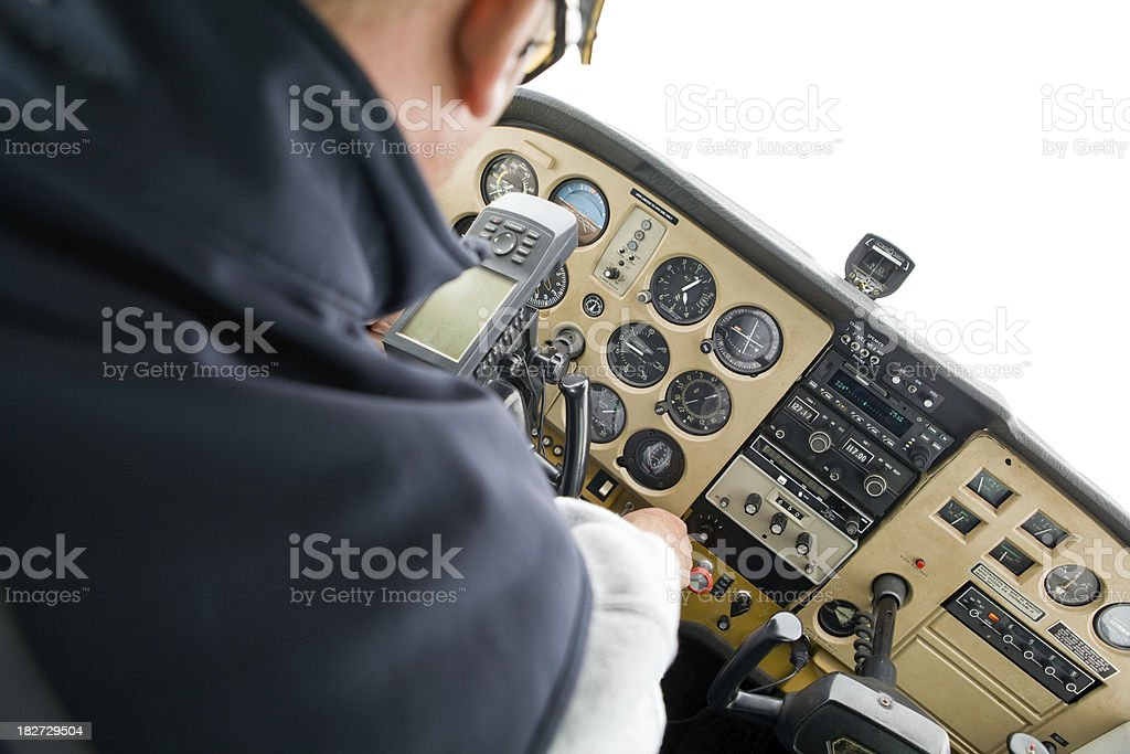 Pilot Flying a Small Plane Through Clouds stock photo