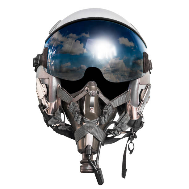 pilot helmet isolated - helmet visor stock photos and pictures