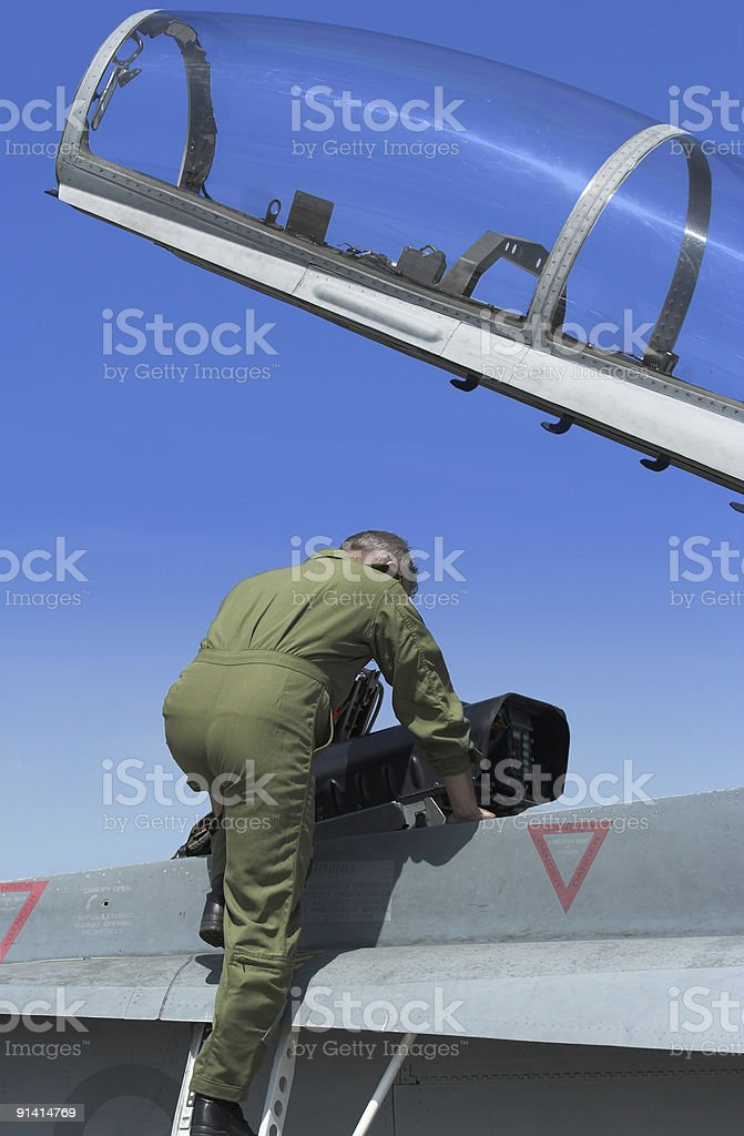 Pilot in Aircraft royalty-free stock photo