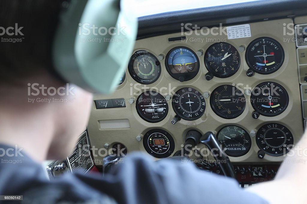 Pilot in cockpit royalty-free stock photo