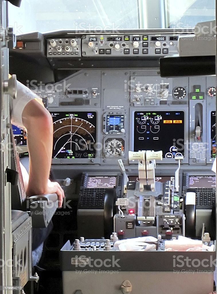 Pilot in the cockpit. royalty-free stock photo
