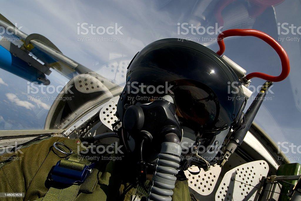 Pilot A pilot in his aircraft Adult Stock Photo