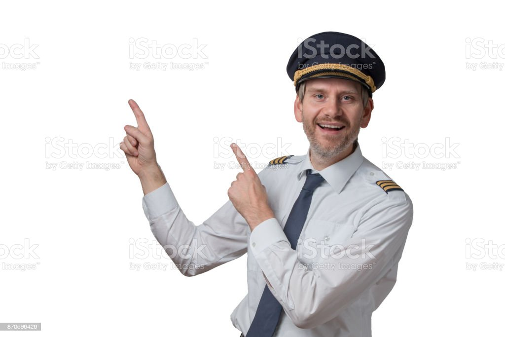 Pilot pointing out stock photo