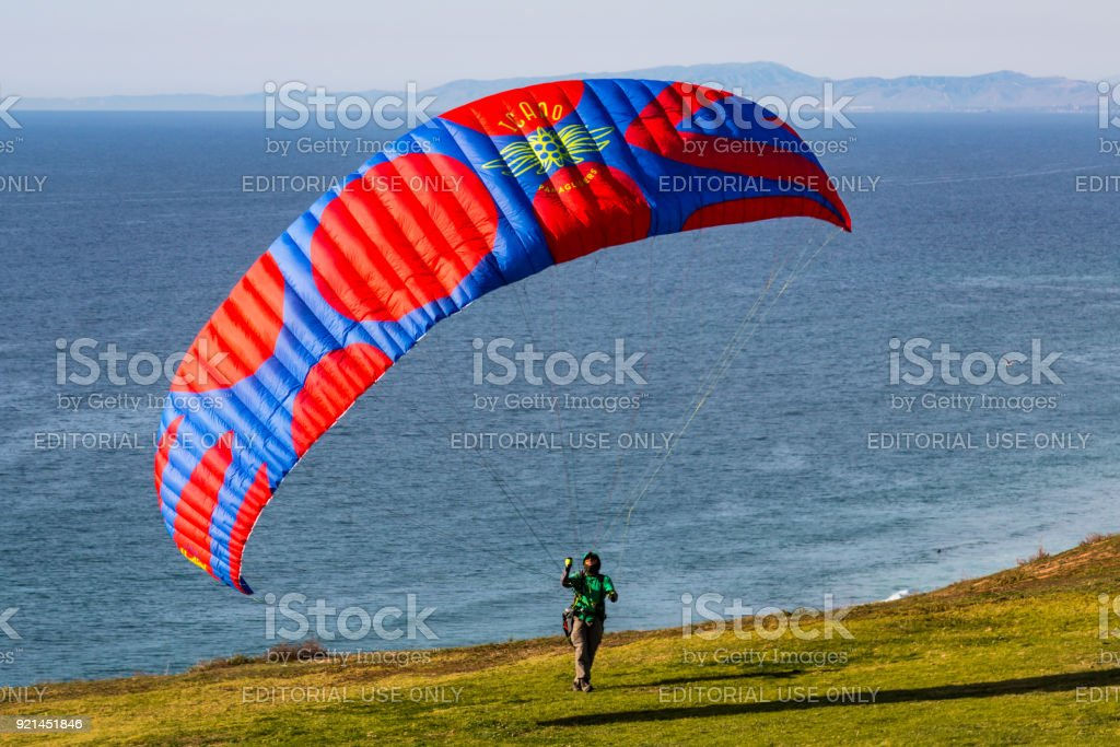 Pilot Raises Paraglider at Torrey Pines Gliderport stock photo