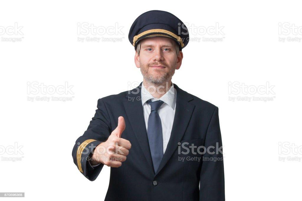 Pilot shows thump up stock photo