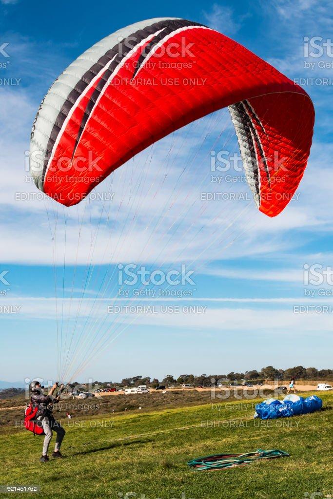 Pilot Stands in Launding Area of Torrey Pines Gliderport stock photo