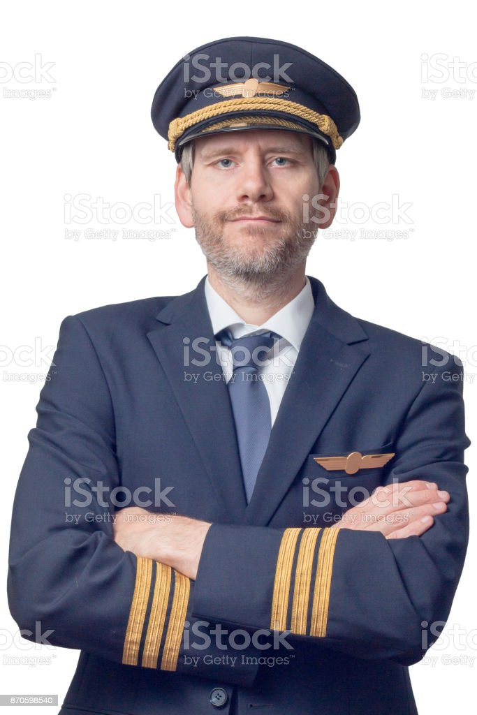 Pilot with arms crossed stock photo