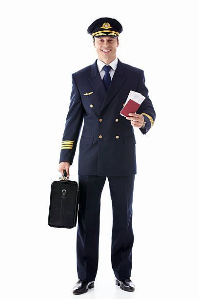 Pilot with the ticket stock photo