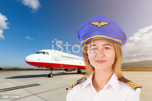494996104istockphoto Pilot Woman with Passenger plane take off background 638118498