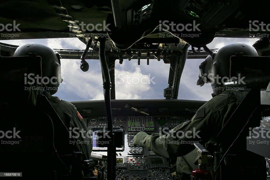 Piloting a helicopter stock photo