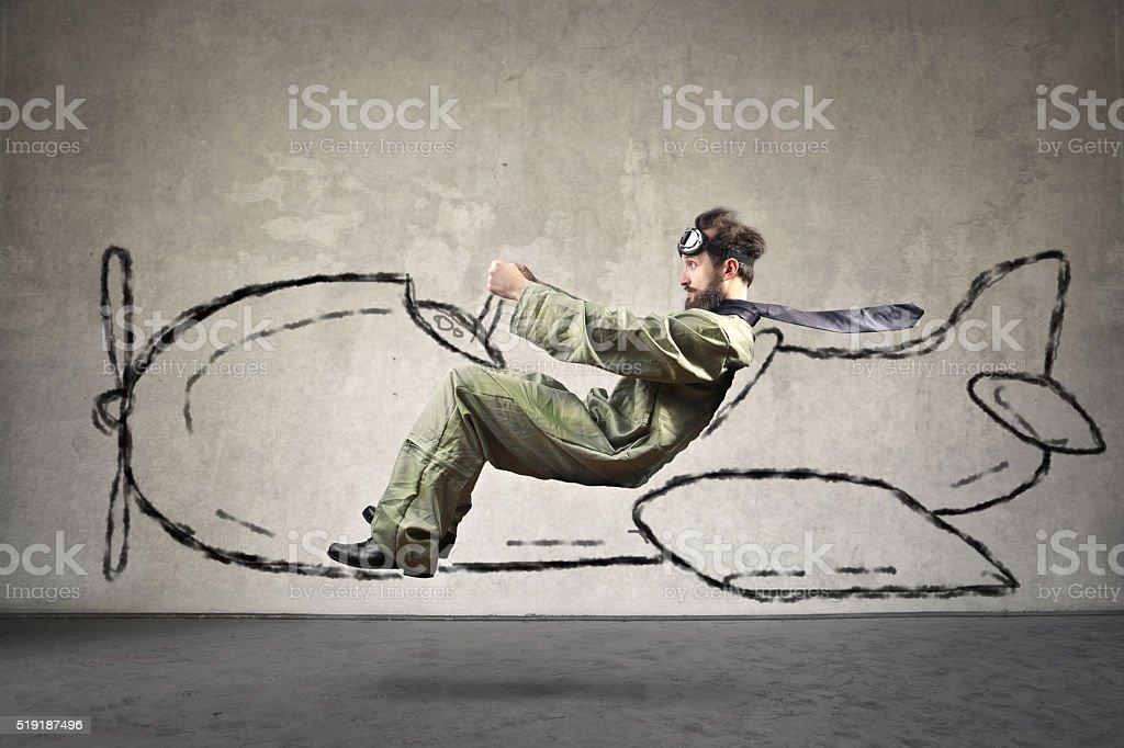 Piloting man stock photo