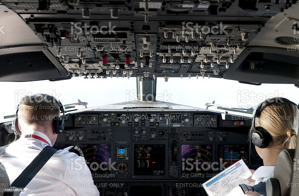 Pilots Control Commercial Airline royalty-free stock photo