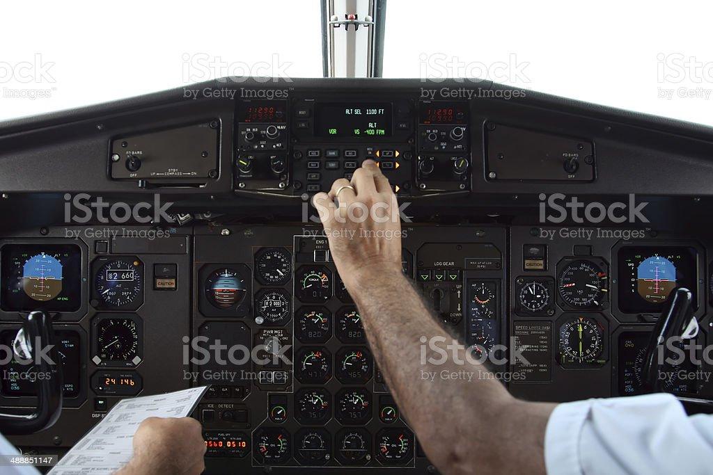 Pilots in flight stock photo
