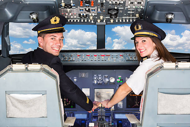 Pilots in the Cockpit stock photo