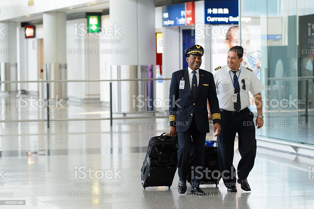 Pilots of United Airlines stock photo