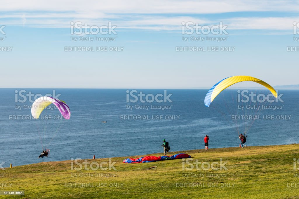 Pilots Prepare and Launch Paragliders at Torrey Pines Gliderport stock photo