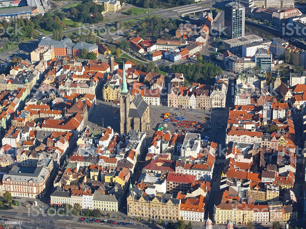 Pilsen city aerial view stock photo