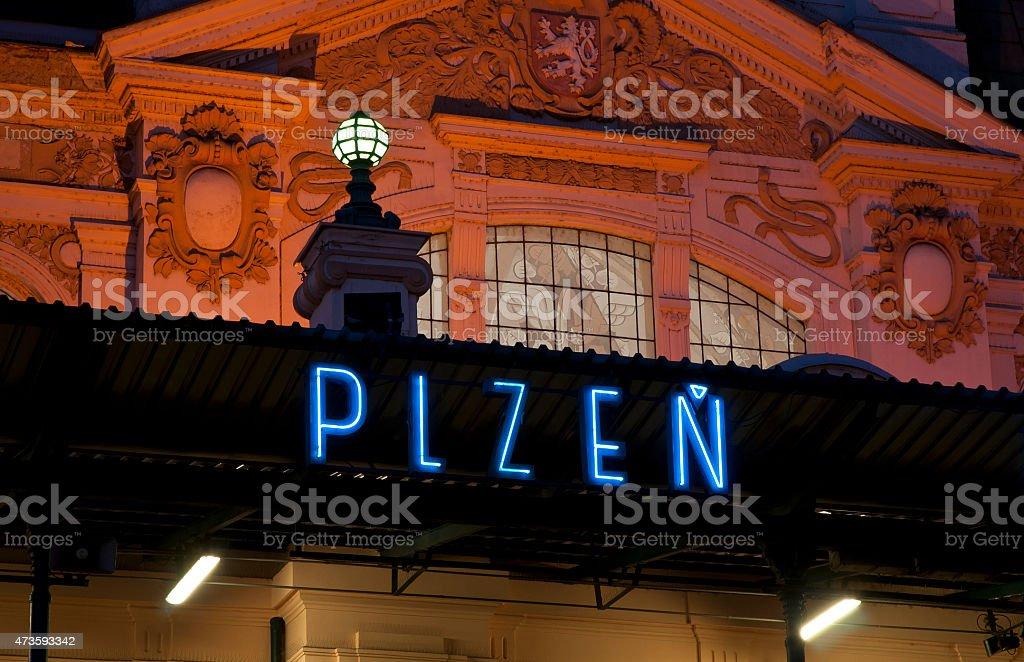 Pilsen, Railway station stock photo
