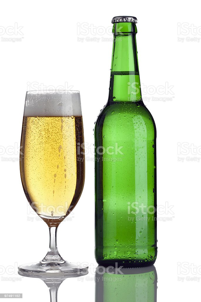 pilsener beer in glass and bottle royalty-free stock photo