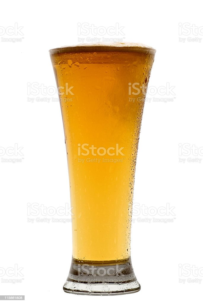 Pilsner Beer glass in centre of frame stock photo