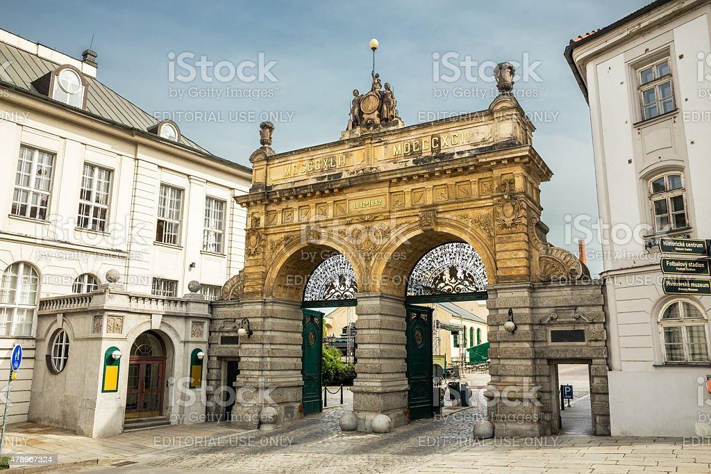 Pilsner Urquell Brewery in daylight, Czech Republic stock photo