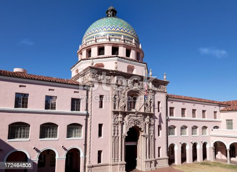 Front view of the Spanish Colonial Revival style Pima County Courthouse in Tucson, Arizona.