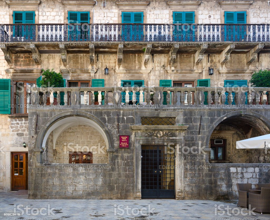 Pima Palace (XVII century) in Old Town, Kotor, Montenegro stock photo