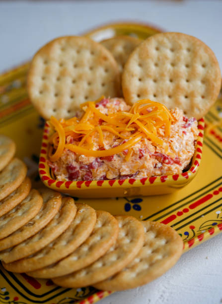 pimento cheese and crackers - pimento cheese stock photos and pictures