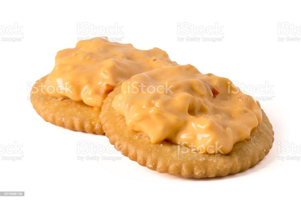 Pimento Cheese on Crackers stock photo