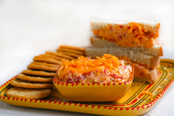 pimento cheese sandwich and crackers - pimento cheese stock photos and pictures