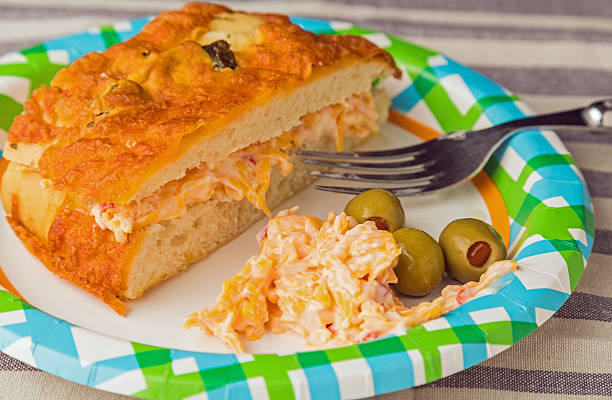 pimento cheese sandwich on focaccia - pimento cheese stock photos and pictures