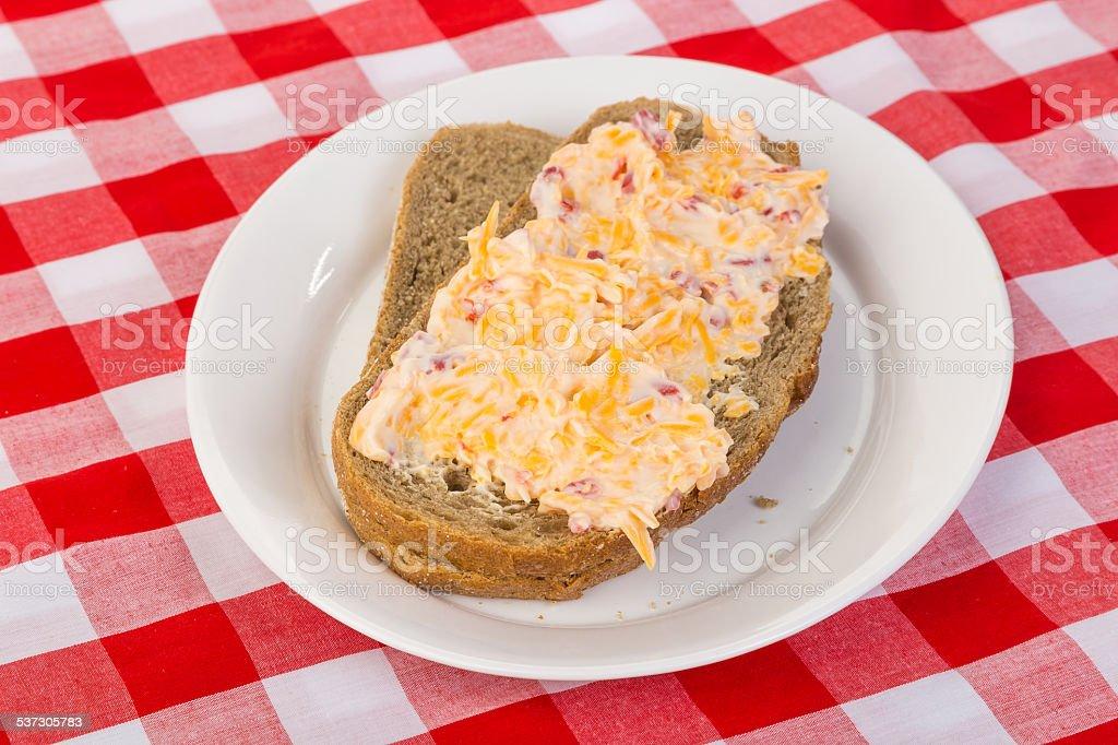 Pimento Cheese Sandwich on Rye Bread stock photo