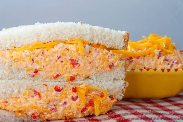 pimento cheese sandwich - pimento cheese stock photos and pictures