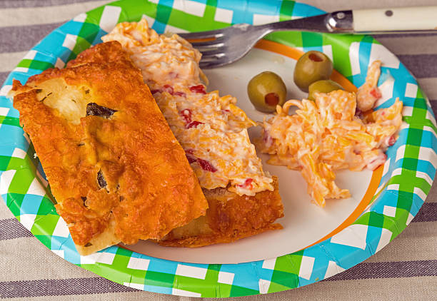 pimento cheese spread on focaccia - pimento cheese stock photos and pictures