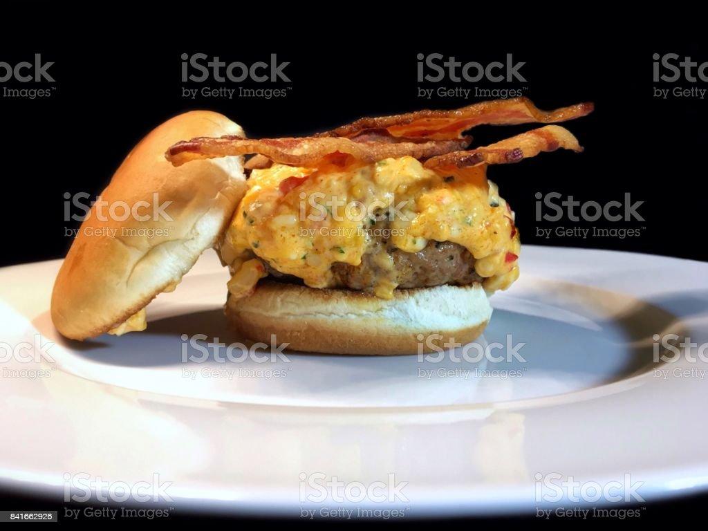 pimento cheeseburger w/ bacon stock photo