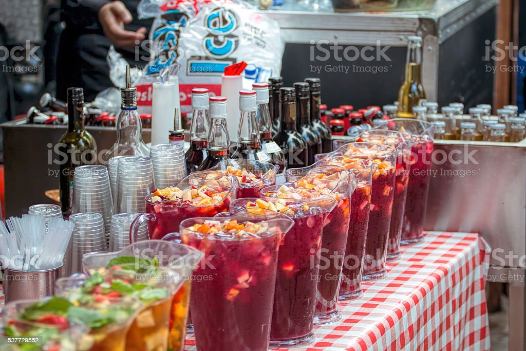Pimm's Outdoor Summer Bar. Beer, Wine Drinks Service stock photo