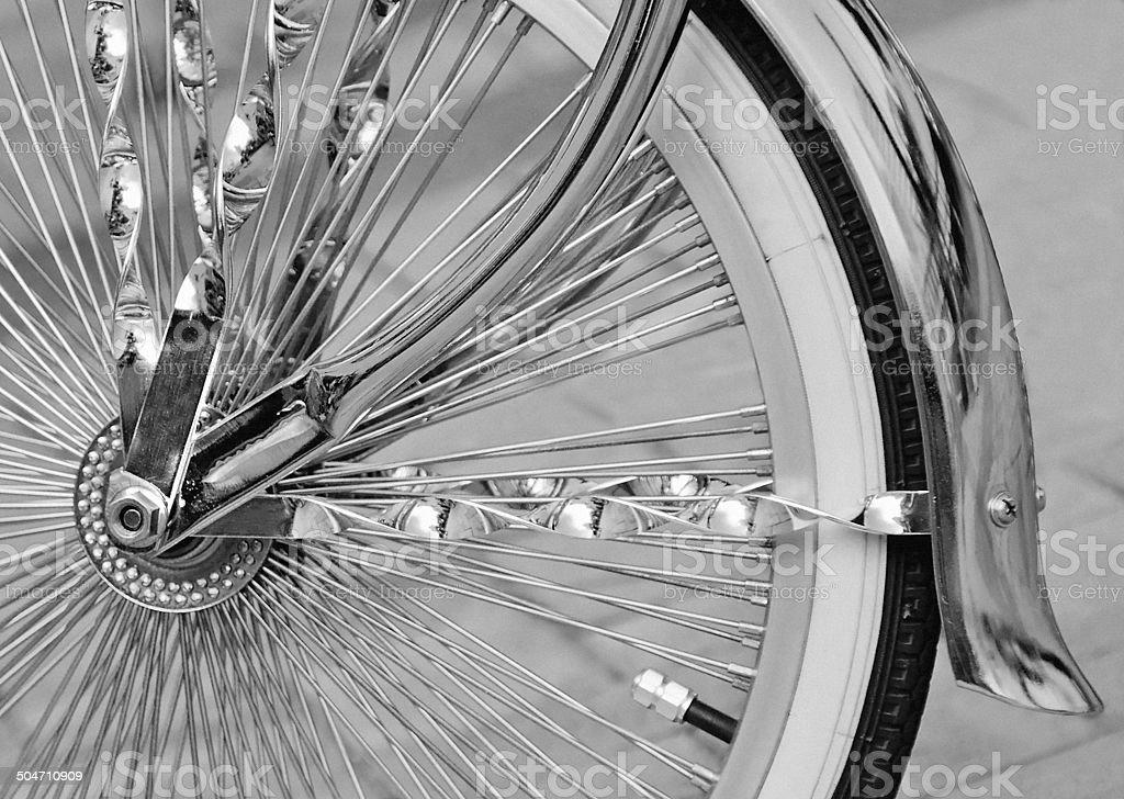 Pimped bike tire close-up stock photo